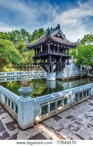 Vietnamse landmark - One Pillar Pagoda, Hanoi, Vietnam. High dynamic range image