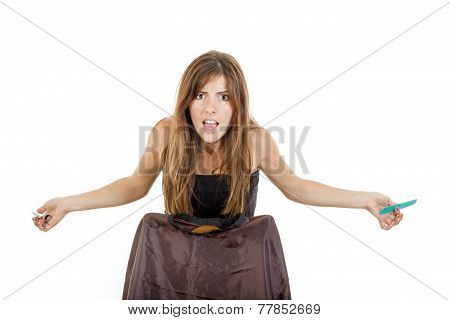 Angry And Disappointed Female Hairdresser With Comb And Scissors Waiting