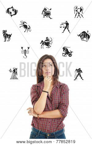 Beautiful Woman Surrounded With Zodiac Signs Thoughtfully Looking Up With Questionable Face Expressi