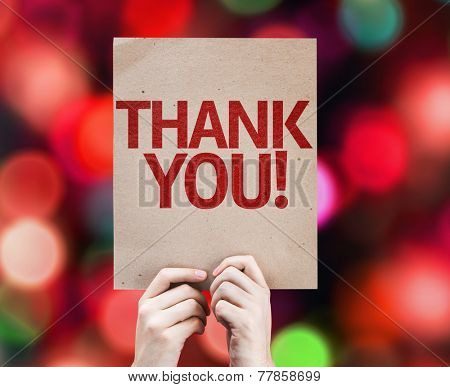 Thank You card with colorful background with defocused lights