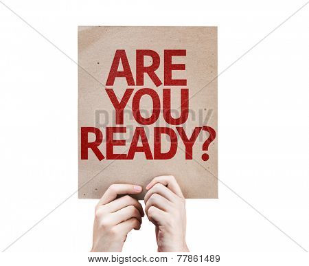 Are You Ready? card isolated on white background