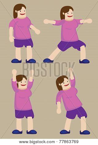 Plus Size Woman Exercising Vector Cartoon Illustration