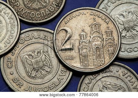 Coins of Yugoslavia. Gracanica monastery in Kosovo depicted on the Yugoslav two novi dinar coin (2002).