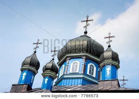 Orthodox Church Domes In Puchly / Poland