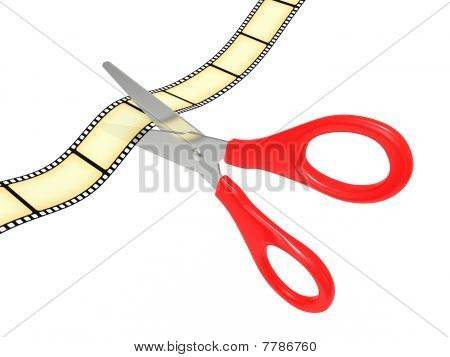 Scissors Cut A Tape A Film