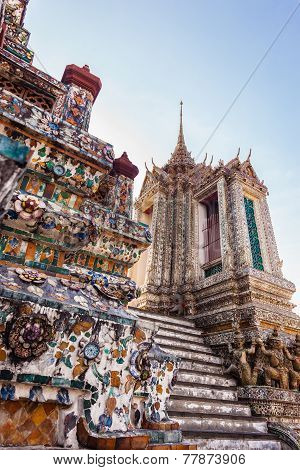 The Temple of Dawn Wat Arun and a beautiful blue sky in Bangkok Thailand poster