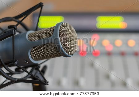 blue microphone and audio console