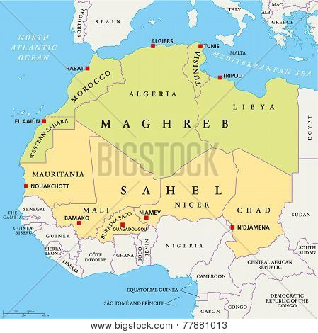 Maghreb and Sahel Political Map with capitals and national borders. English labeling and scaling. Illustration. poster