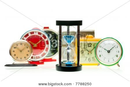 Hourglass And Alarm Clocks