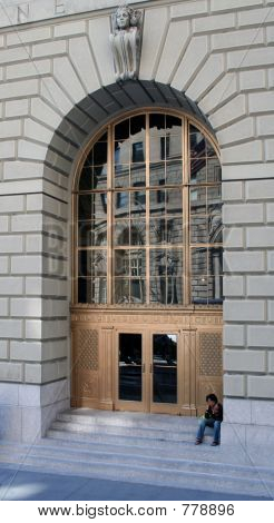 Golden door with arch detail, New York