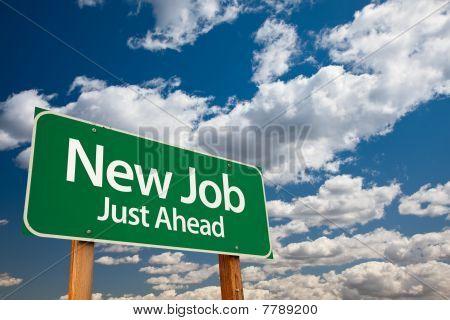 New Job Green Road Sign