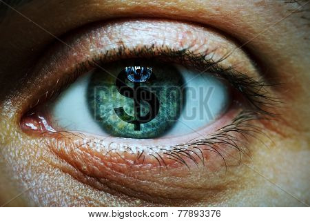 Closeup image of a man with a dollar symbol in his eye