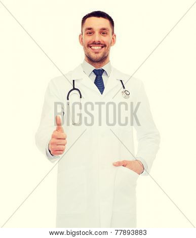 healthcare, profession and medicine concept - smiling male doctor with stethoscope showing thumbs up over white background poster