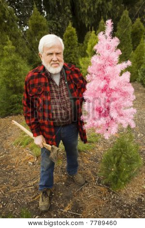 Lumberjack With Pink Christmas Tree Holding Axe