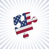 Jigsaw piece with American flag over circular stripes poster