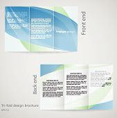 Tri-fold brochure design. Brochure template design in shades of blue and green poster