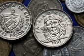 Coins of Cuba. Cuban national hero Ernesto Che Guevara depicted in the Cuban three peso coin. poster