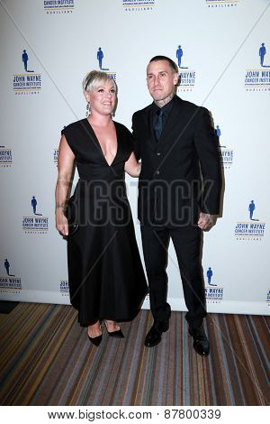LOS ANGELES - FEB 11:  Pink, Carey Hart at the 30th Annual John Wayne Odyssey Ball at the Beverly Wilshire Hotel on April 11, 2015 in Beverly Hills, CA