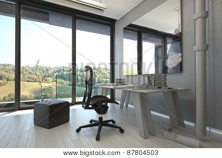 Worktable and Chairs Inside an Elegant Architectural Home Office with Overlooking Natural View From Transparent Glass Windows. 3d Rendering.