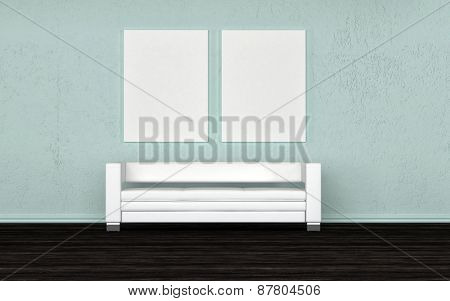Empty white generic sofa below two blank wall canvasses for your artwork on a grey wall. 3d Rendering.