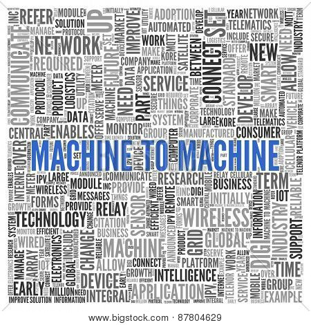 Close up Blue MACHINE TO MACHINE Text at the Center of Word Tag Cloud on White Background.