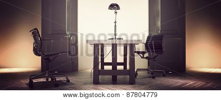 Spacious corporate office interior with a desk and chairs centered in front of an alcove flanked with pillar detail on an old herringbone pattern parquet floor. 3d Rendering.