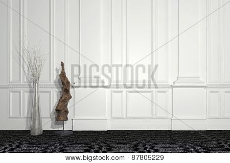 Blend of modern and classic architecture with a contemporary sculpture and floral arrangement standing in front of a paneled white wall with wainscoting and copyspace. 3d Rendering.  poster