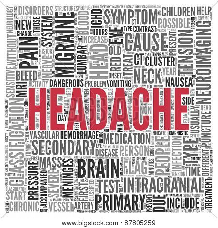 Close up HEADACHE Text at the Center of Word Tag Cloud on White Background.