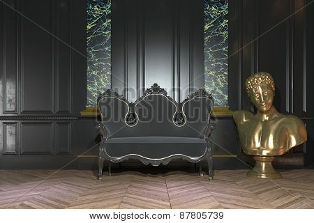 Classic vintage interior decor with an ornate Victorian settee in front of marble columns and a paneled wall with a shiny gilded bust alongside. 3d Rendering.