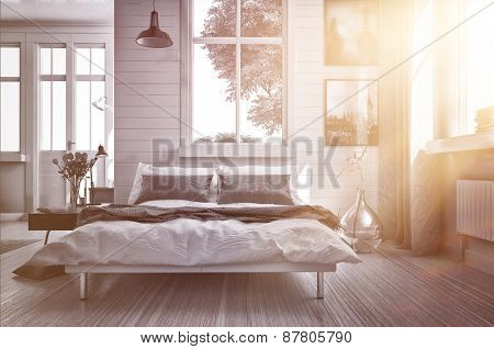 Luxury spacious airy bedroom lit by warm glowing sun flare streaming in through one of the multiple windows with modern grey and white decor and a double divan bed. 3d Rendering.