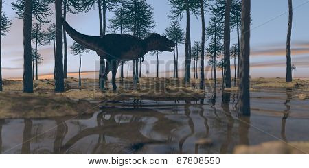tarbosaurus walking in araucaria grove
