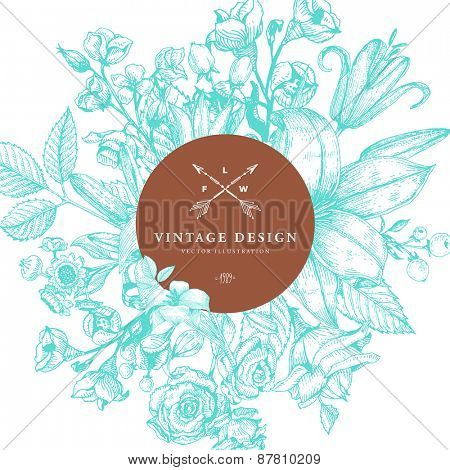 Vintage Card with Engraving Flowers. Floral Wreath. Flower Frame for Summer Logo and Label Designs.