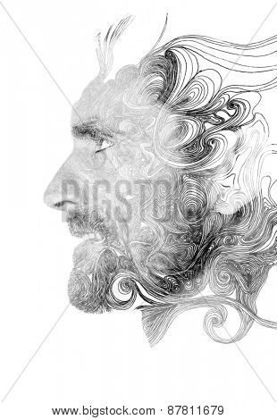 Double exposure portrait of confident man combined with hand drawn pattern