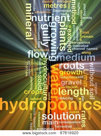 Background text pattern concept wordcloud illustration of hydroponics glowing light