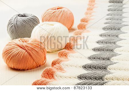 Rolls Of Soft Knitting Yarn And Knitting