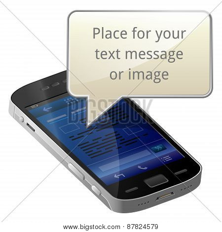 Smartphone With Blank Message Bubble