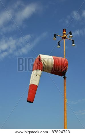 Red And White Airfield Windsock