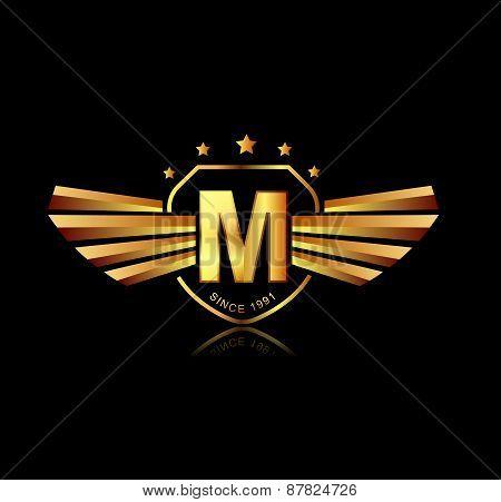 Letter M Winged Crests Logo . Alphabet Logotype Design Concept