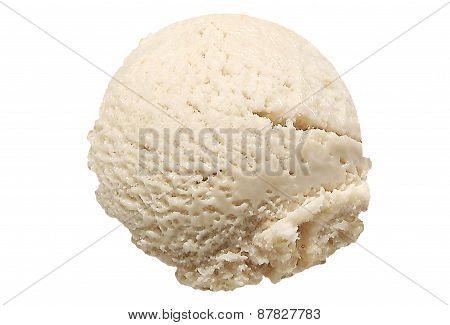 Scoop of banana ice cream on white background