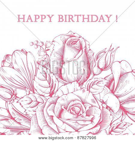 Vintage luxury card with detailed hand drawn flowers - blooming rose. Vector. Easy to edit. Isolated on white background.