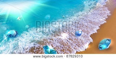 Wave of precious stones floating