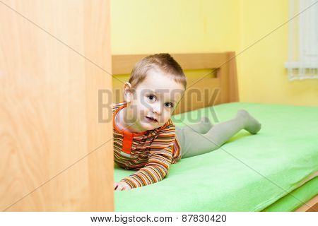 Child Boy On Bed