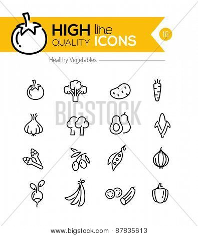 Vegetables Line Icons including: tomato, broccoli, carrot etc..