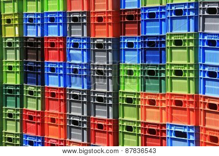 Stack of multicolor crates. Abstract background