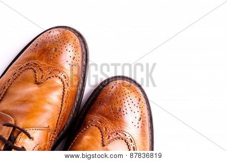 Elegant gentleman Leather Shoe. Brown elegant men's shoes ready to use for a gentleman rendezvous or business meeting. Isolated on white poster