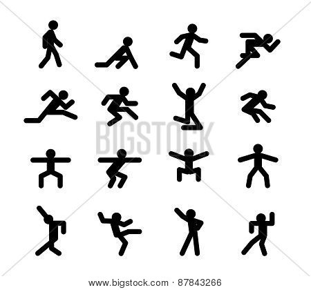 Human action poses. Running walking, jumping and squatting, dancing