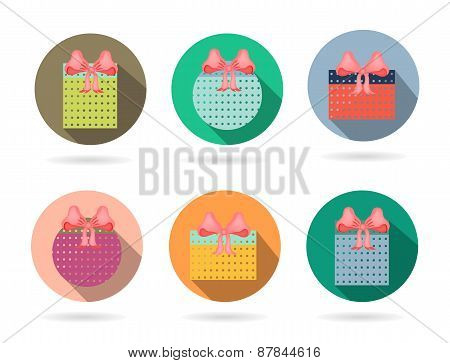 Set, collection, group of six isolated, flat, colorful buttons, icons, signs, labels, stickers with