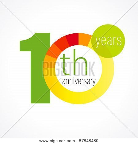 10 years old round logo. Anniversary year of 10 th vector chart template medal. Birthday greetings circle celebrates. Celebrating numbers. Colorful digits. Figures of ages, cut sections. Letter O yellow.