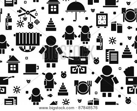 Vector seamless baby icons pattern silhouette.