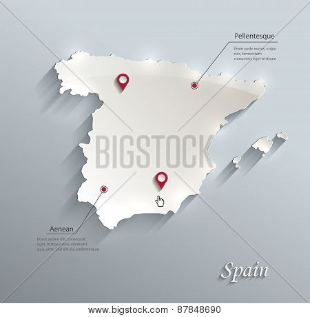 Spain map blue white card paper 3D vector